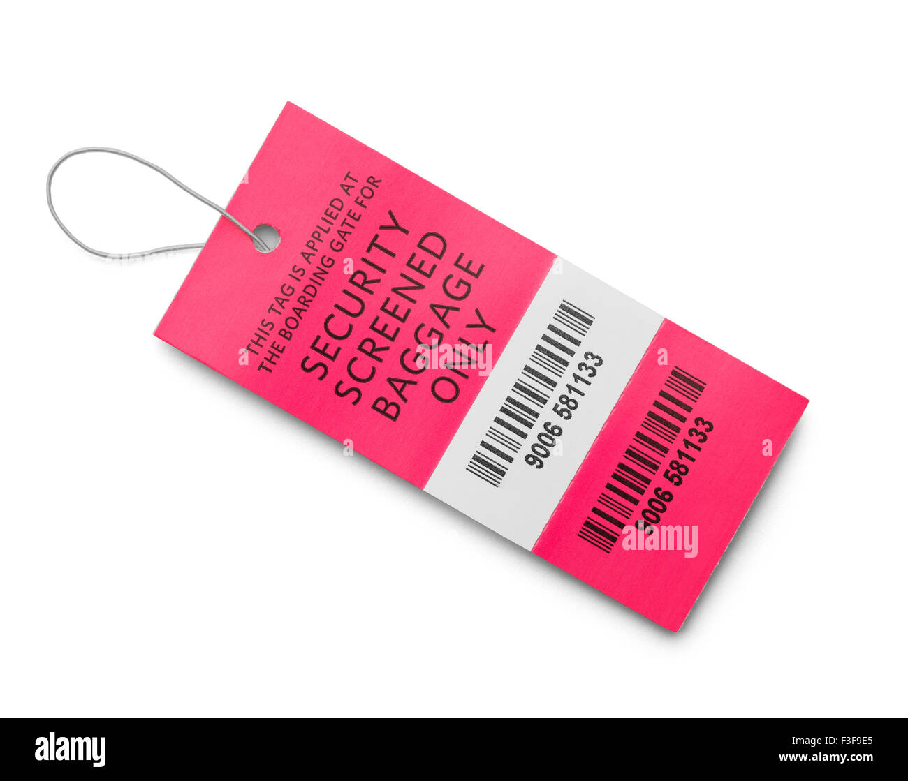 Pink Airport Screened Baggage Tag Isolated on White Background. - Stock Image