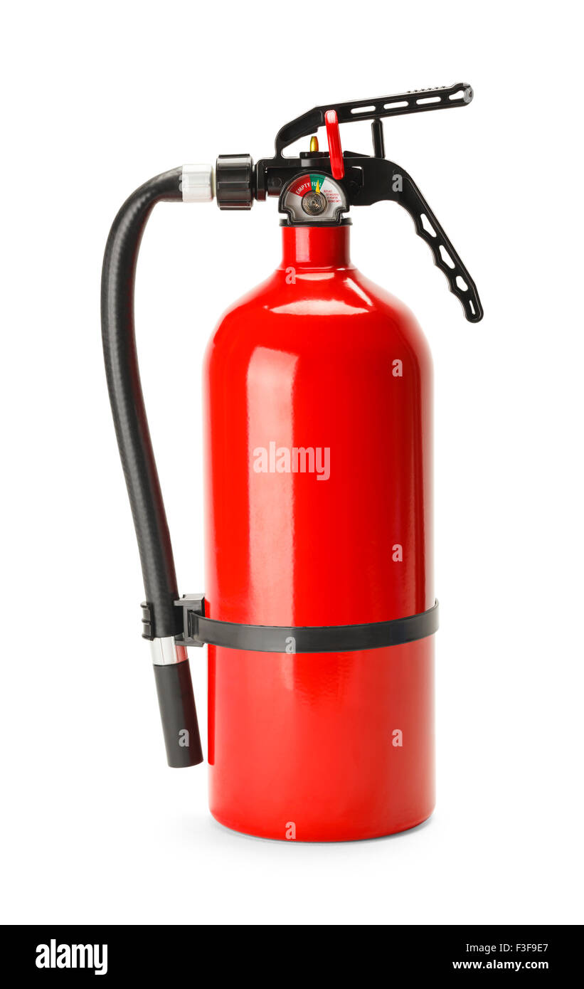 Red Fire Extinguisher With Copy Space Isolated on White Background. - Stock Image