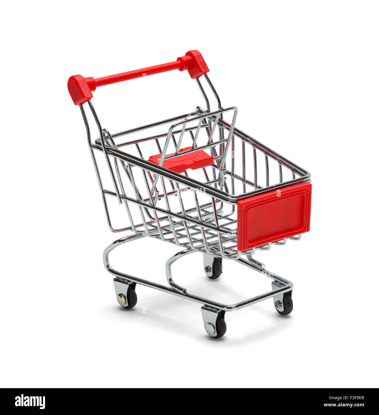 Red and Silver Shopping Cart Isolated on White Background. - Stock Image