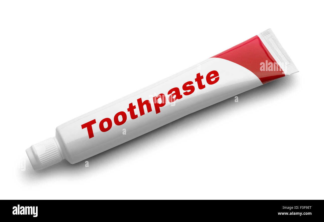 Red Tube of Toothpaste Isolated on White Background. - Stock Image