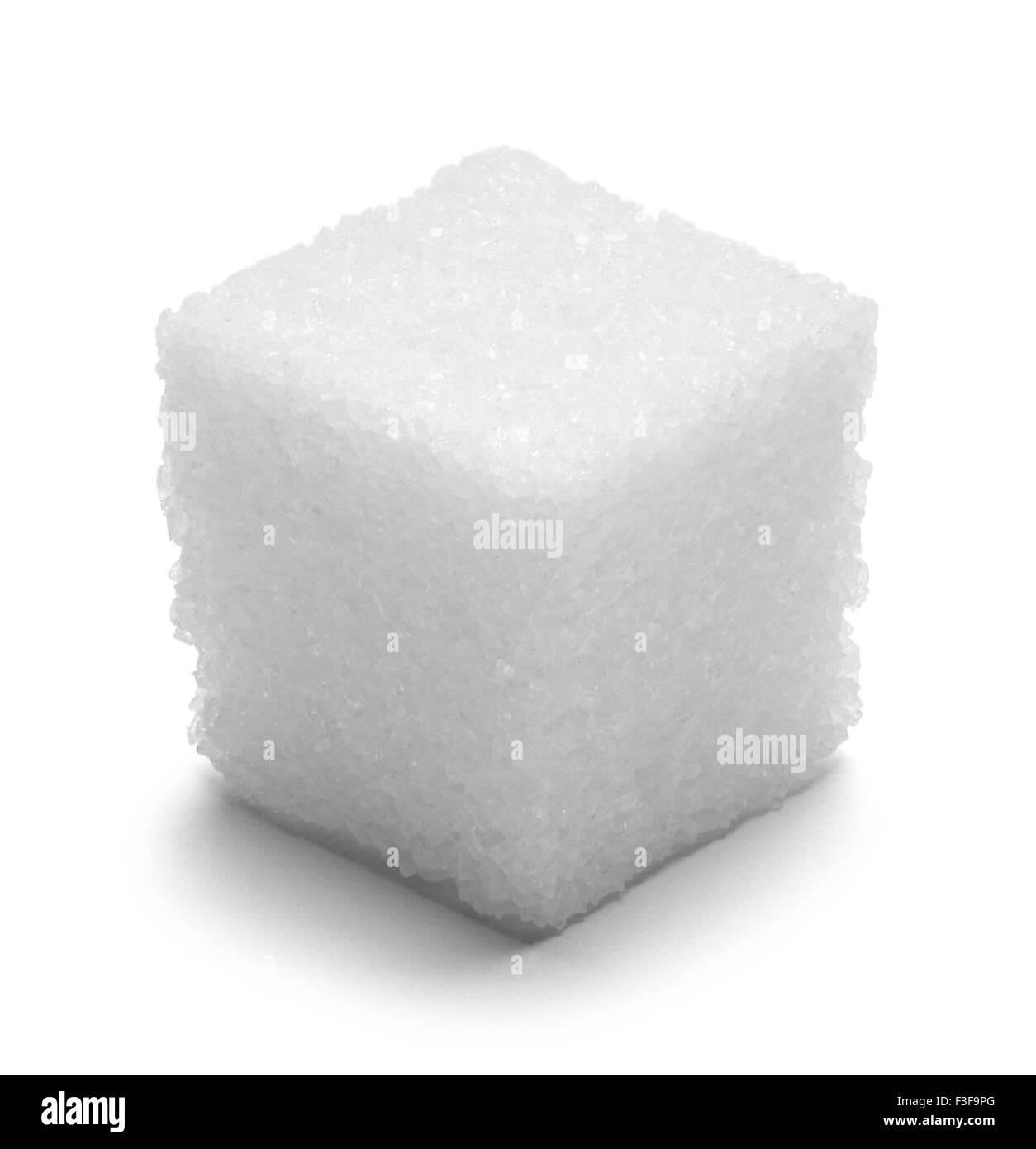 Single Cube of Sugar Isolated on White Background. - Stock Image