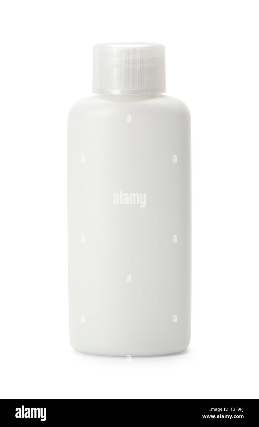 White Shampoo Bottle with Copy Space Isolated on White Background. - Stock Image