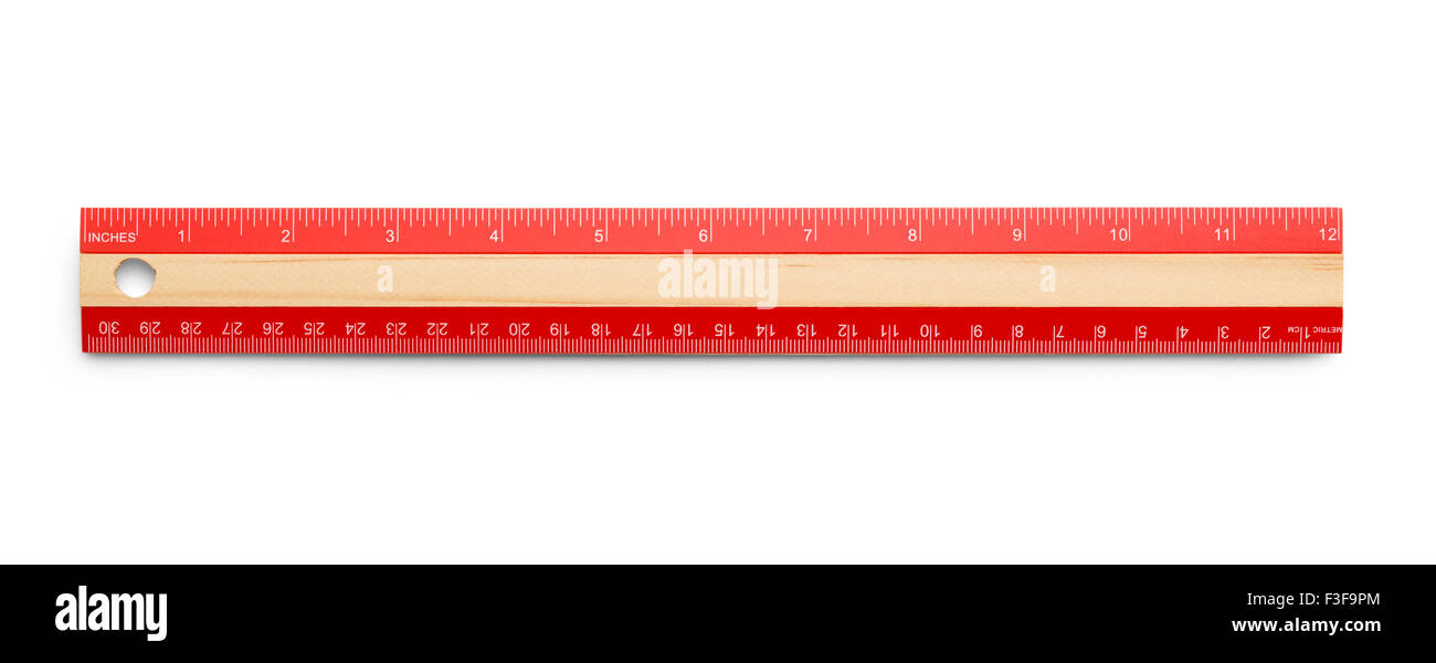 Red Wooden Ruler Isolated on White Background. - Stock Image