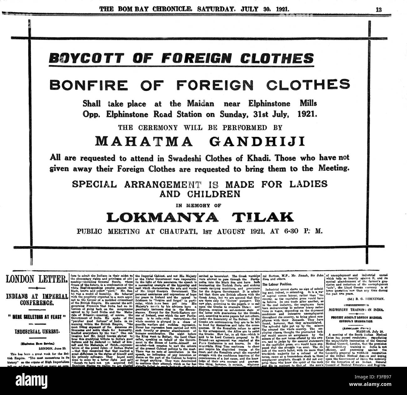 Mahatma Gandhi appeal for boycott of foreign cloth and invitation to bonfire in The Bombay Chronicle 30 July 1921 - Stock Image