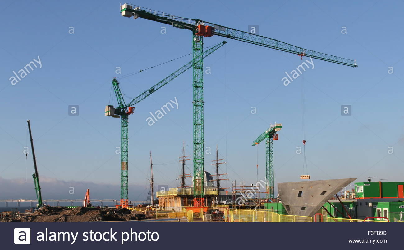 Cranes at Victoria and Albert Design Museum Construction site Dundee Scotland  September 2015 Stock Photo