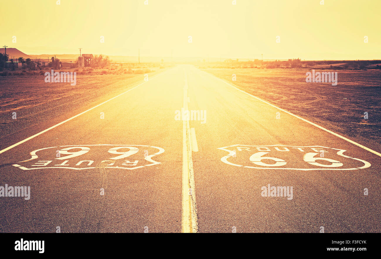 Retro old film style sunset over Route 66, California, USA. - Stock Image