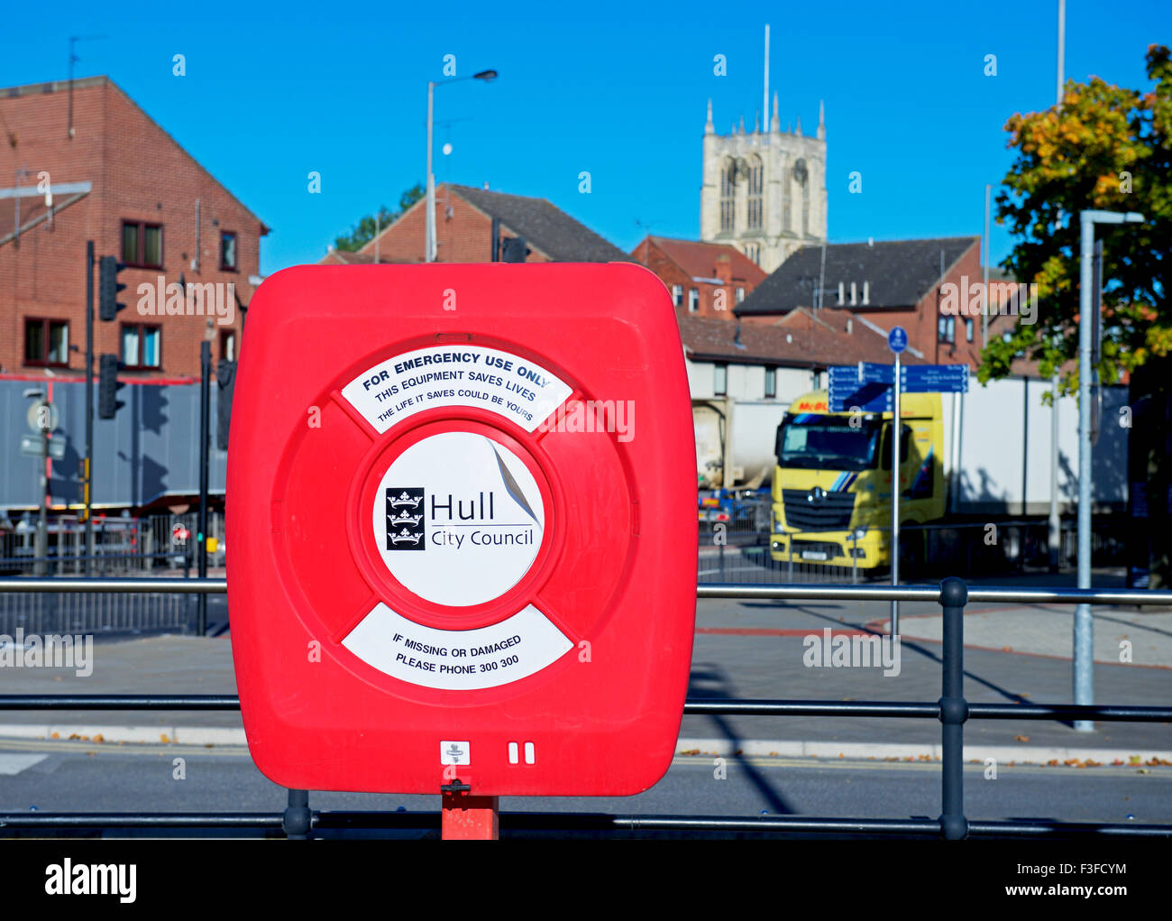 Lifebelt at the marina, Hull, East Riding of Yorkshire, Humberside, England UK - Stock Image