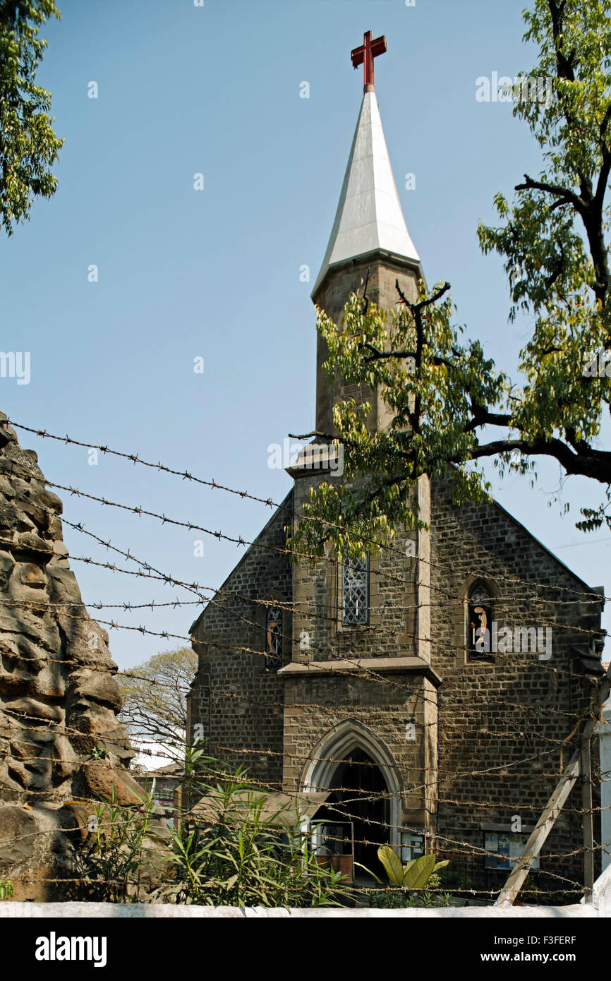 St. Vincent church Neo Gothic church built in 1865 ; Pune ; Maharashtra ; India - Stock Image