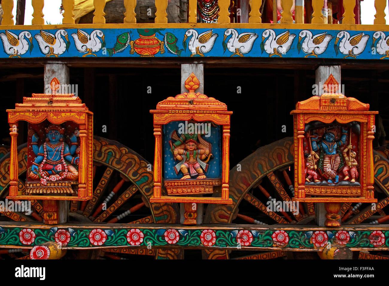 Gods statues on Rath yatra or Cart festival of Jagannath ; Puri ; Orissa ; India Stock Photo