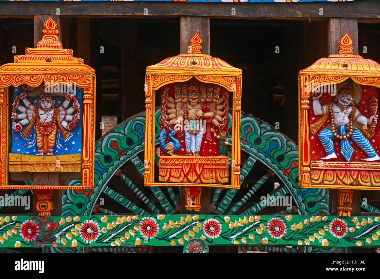 Gods statues on Rath yatra or Cart festival of Jagannath ; Puri ; Orissa ; India - Stock Image