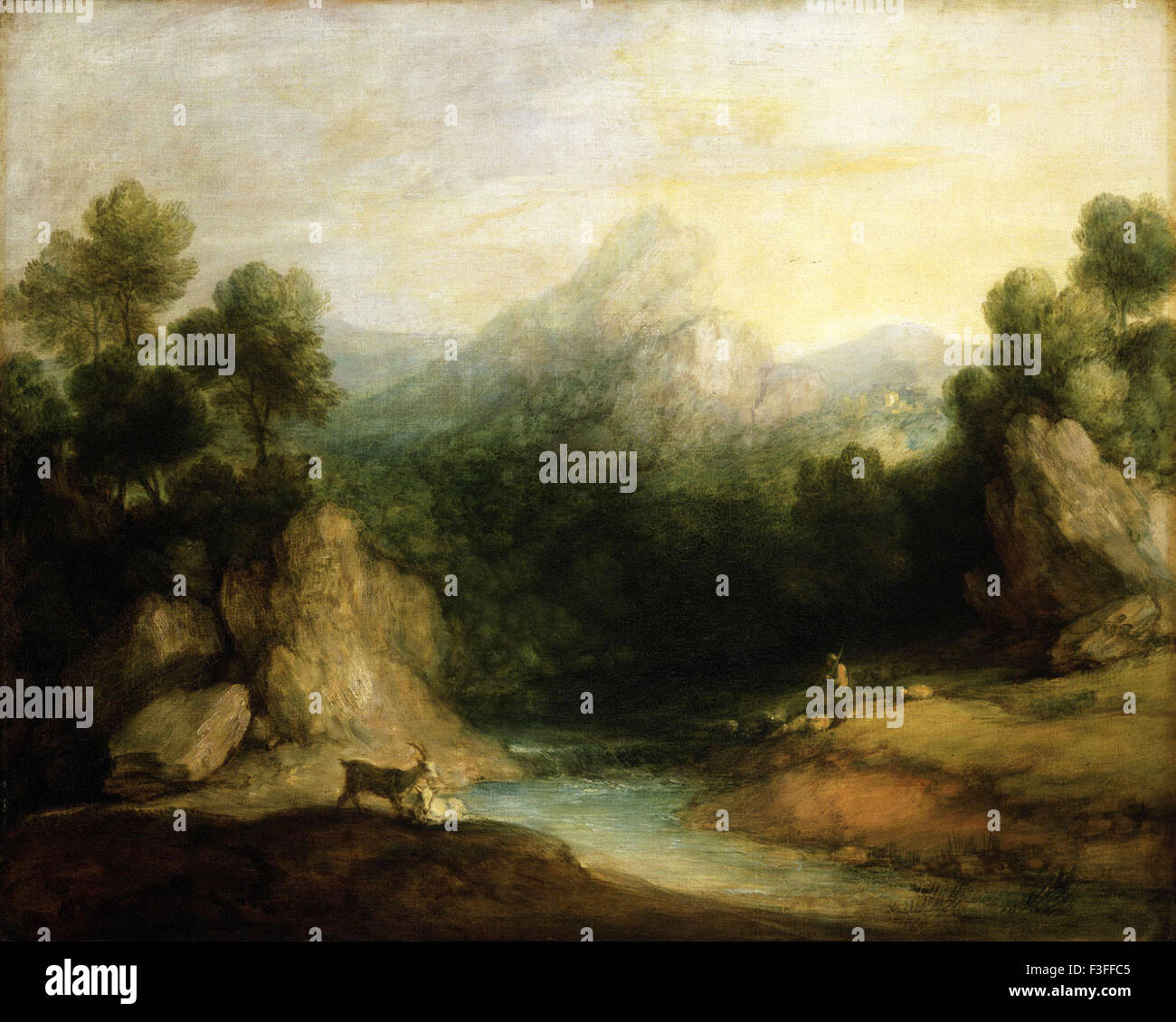 Thomas Gainsboroug - Pastoral Landscape (Rocky Mountain Valley with a Shepherd, Sheep, and Goats) - Stock Image