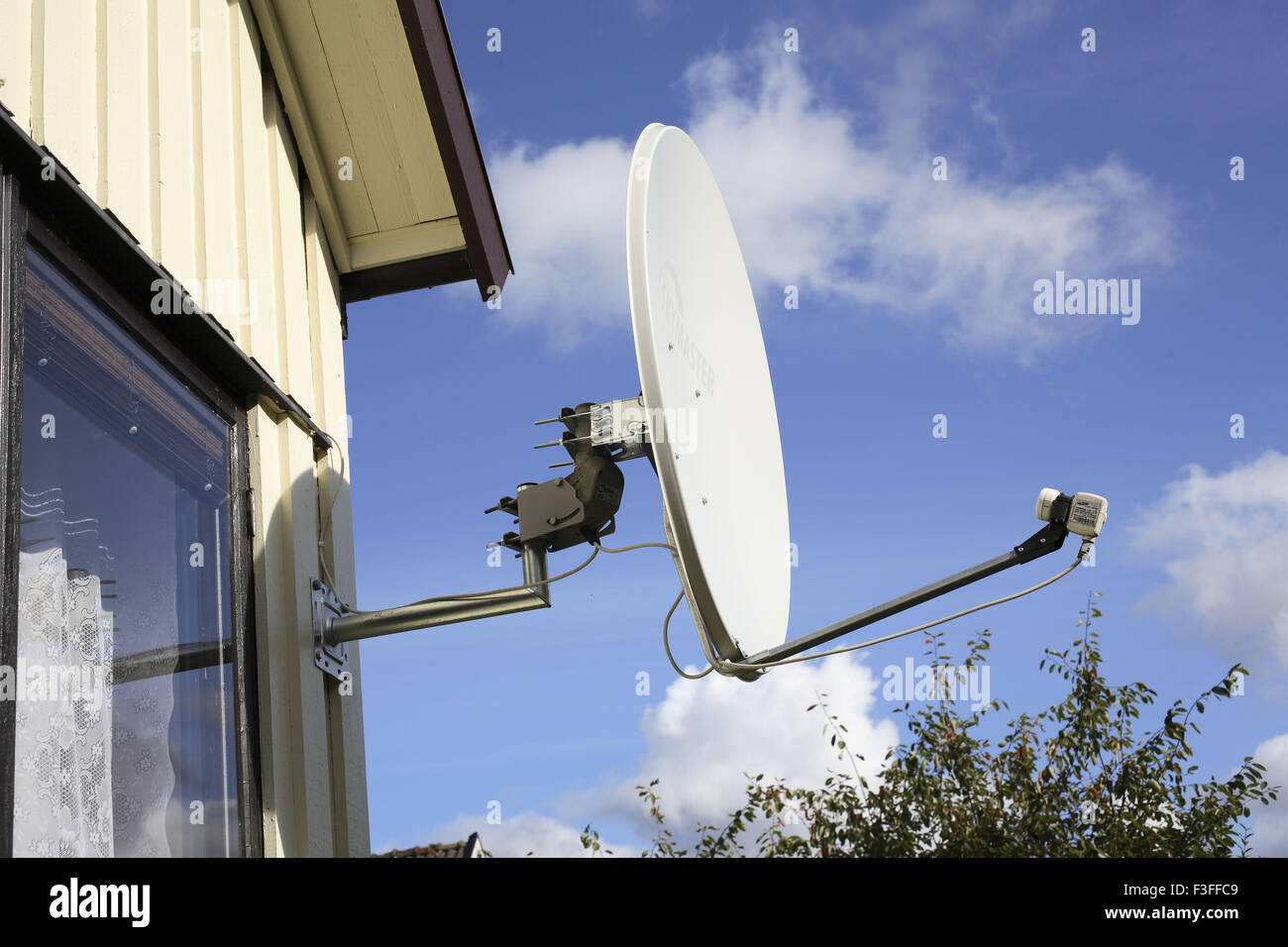 Dish Antenna attached and supported PR#703L - Stock Image