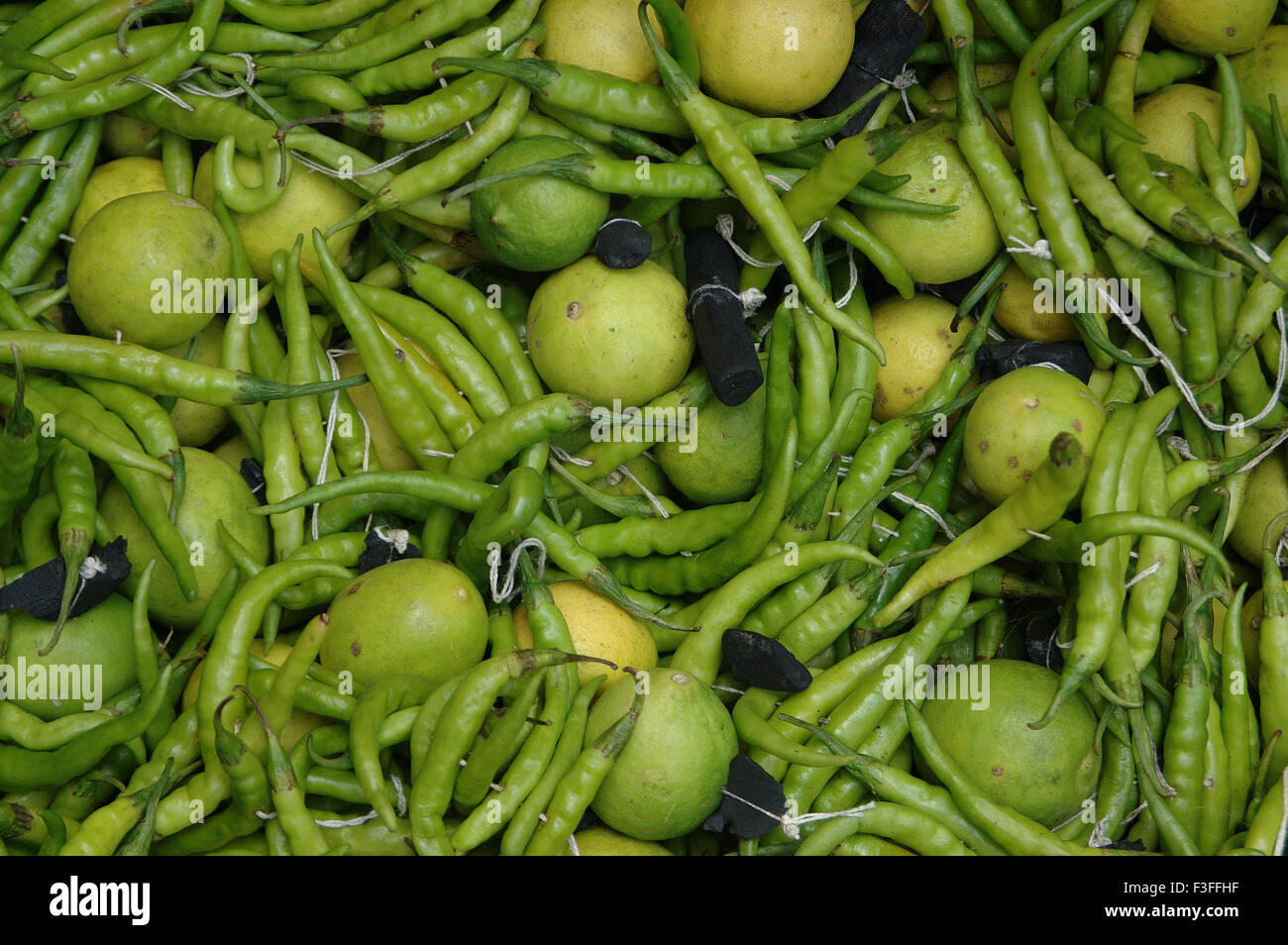 Belief ;Green Chili ; lemon and charcoal tied together to protect from evil sight ; India - Stock Image