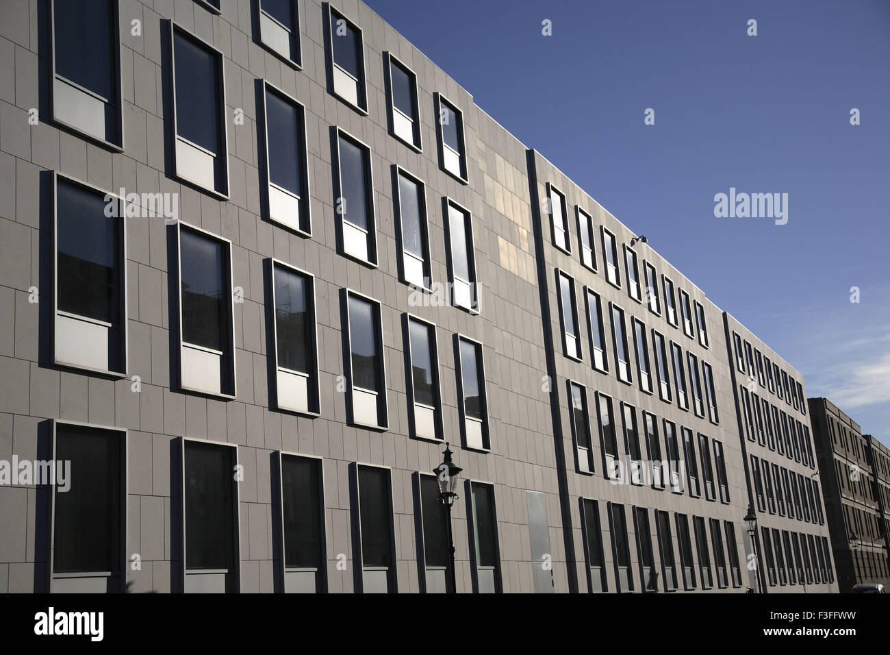 Repeated design rectangular diagonal glass Windows of buildings ; Perspective ; Vanishing points ; Copenhagen - Stock Image