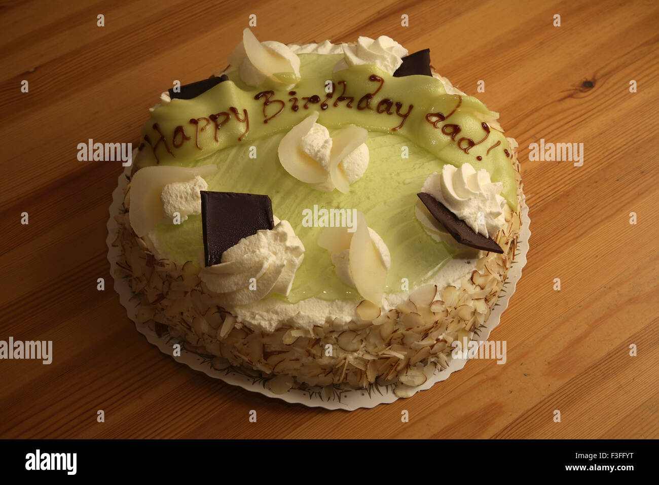 Birthday Cake For Dad With Marzipan Jelly Fresh Crme Slices Of Pear