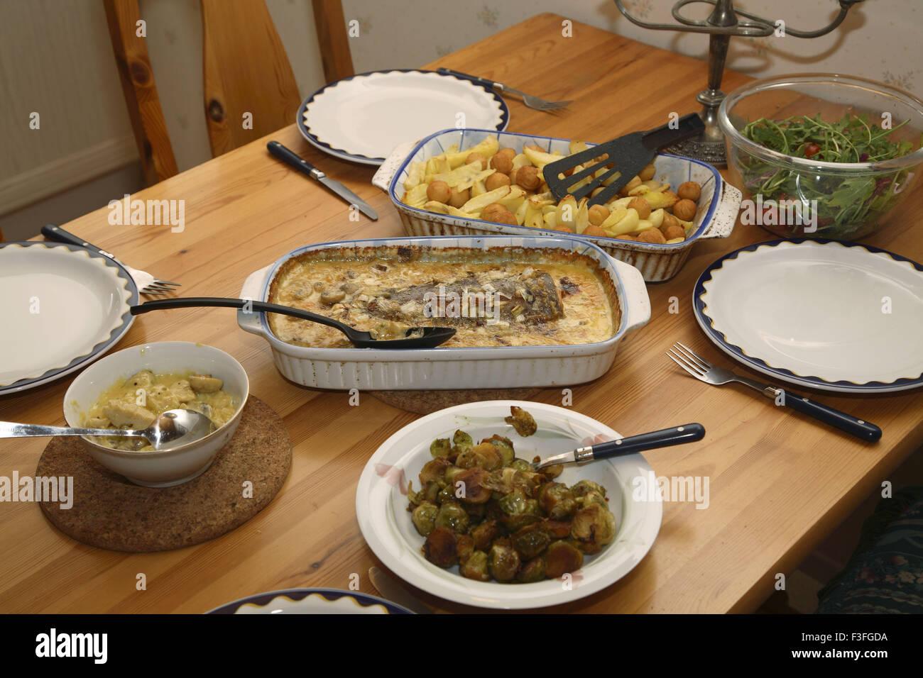 Food Continental Served Bowls Dining Table Potatoes Salmon Fish Vegetable Quarn Rich Cream Mushroom Sauce Ruccollo Sweden