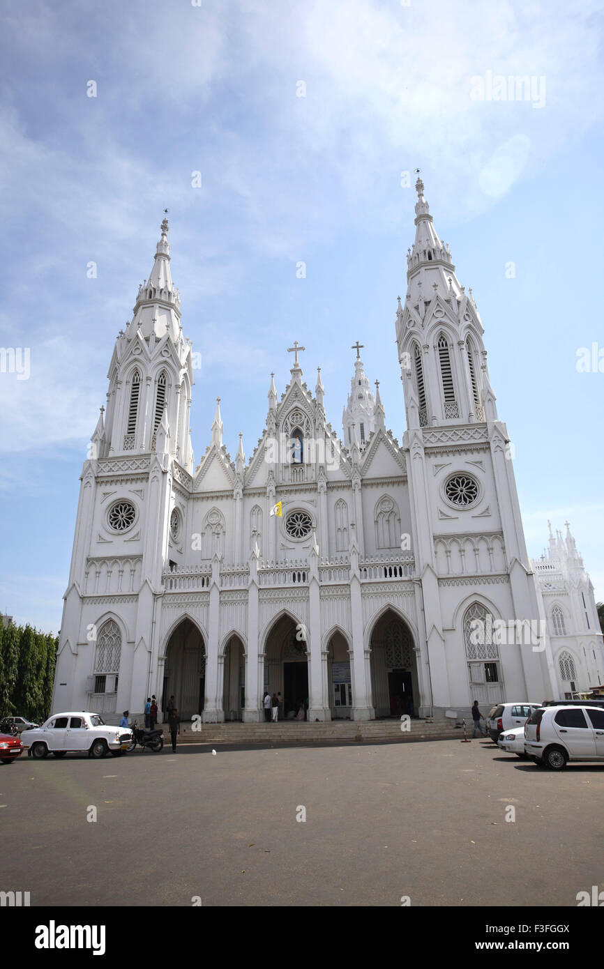 Basilica of Our Lady of Dolours tower 146 ft hig rear Bible tower 260 feet high church Thrissur Kerala - Stock Image