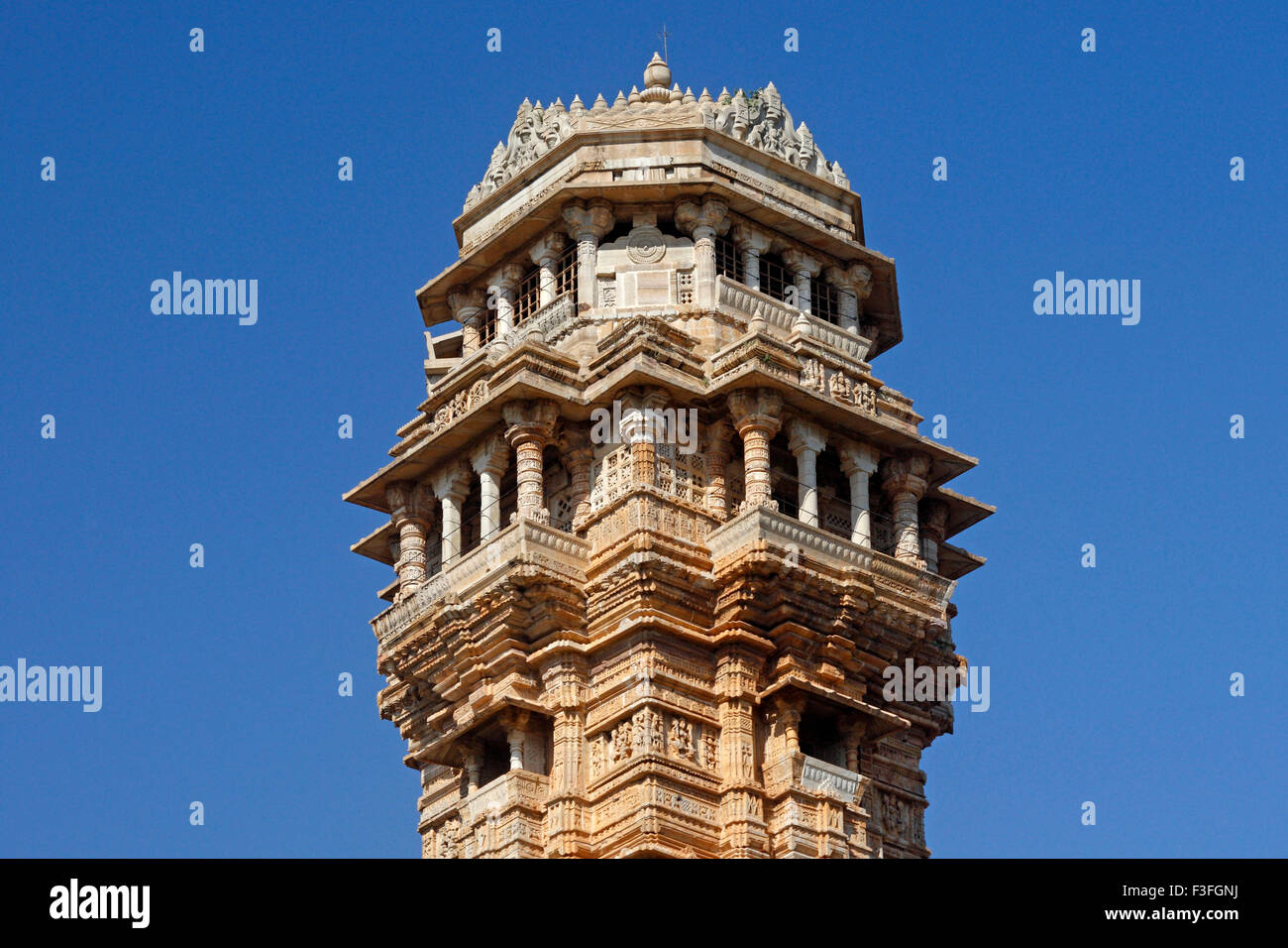 Heritage 37 meter high Vijay Stambh (victory tower) built in 1440 AD ; Chittorgarh ; Rajasthan ; India - Stock Image
