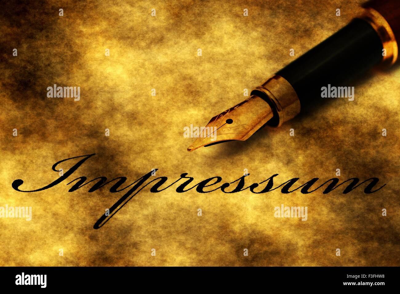 Fountain pen on impressum - Stock Image