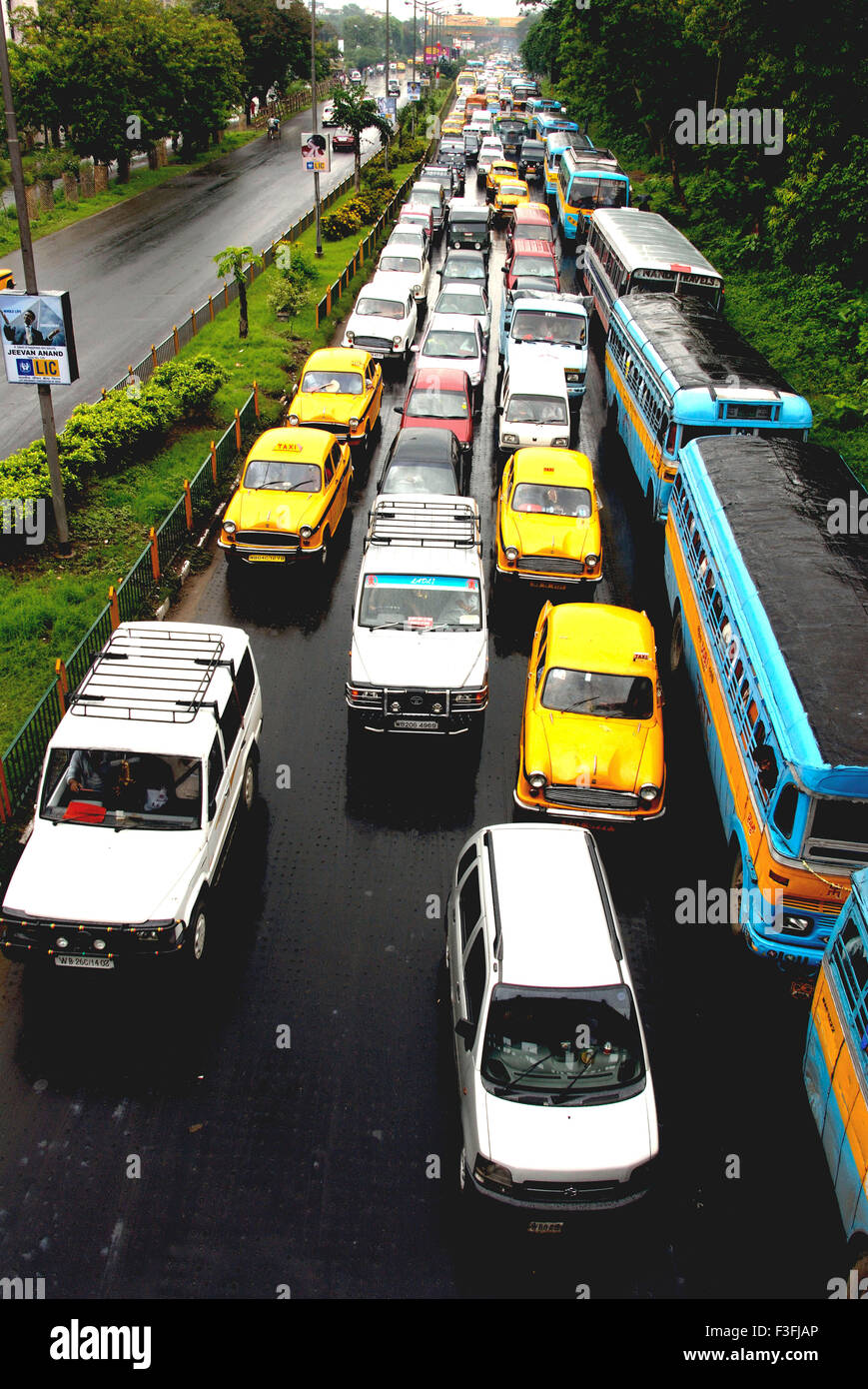 Traffic jam due to heavy rains due to monsoon ; India - Stock Image