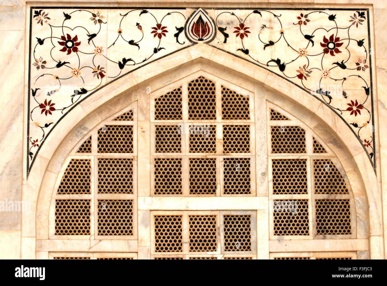 Polychrome inlay with floral designs; Taj mahal ; Agra ; Uttar Pradesh ; India - Stock Image