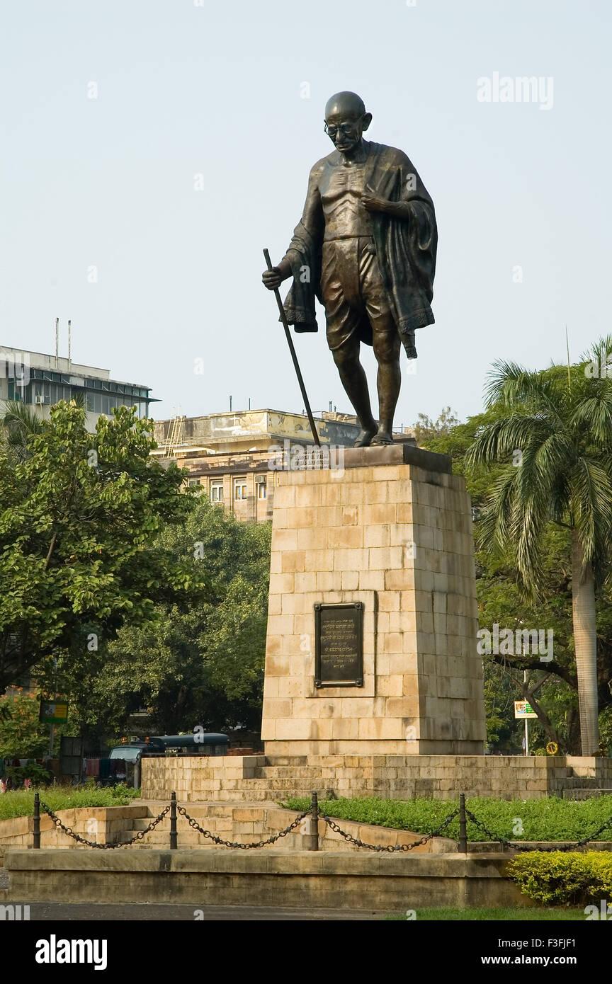 Bronze Statue of Mahatma Gandhi ; Mohandas Karamchand Gandhi also known as bapu (father of the Nation) at Sachivalaya - Stock Image