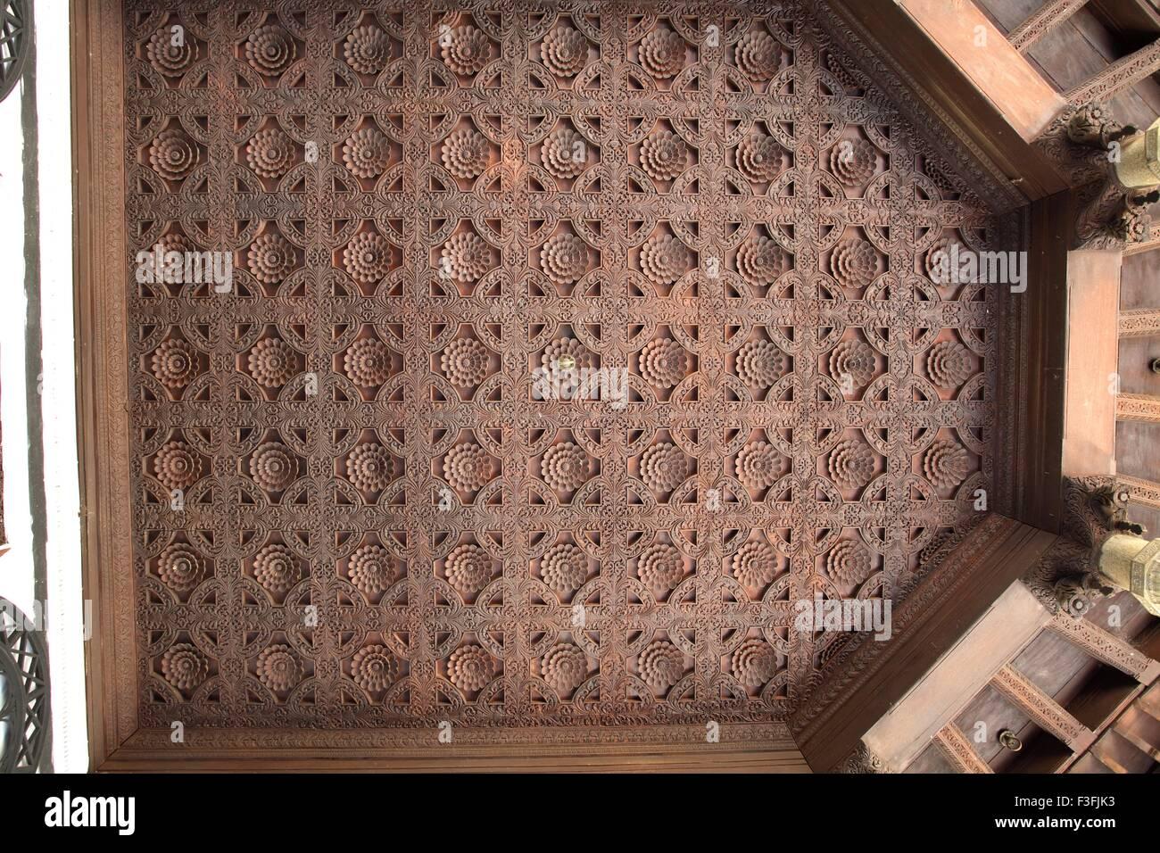 Design Pattern Of Wood Carving Lotus Flowers On Ceiling Corridor Puthen Maliga Palace MuseumTrivandrum Kerala