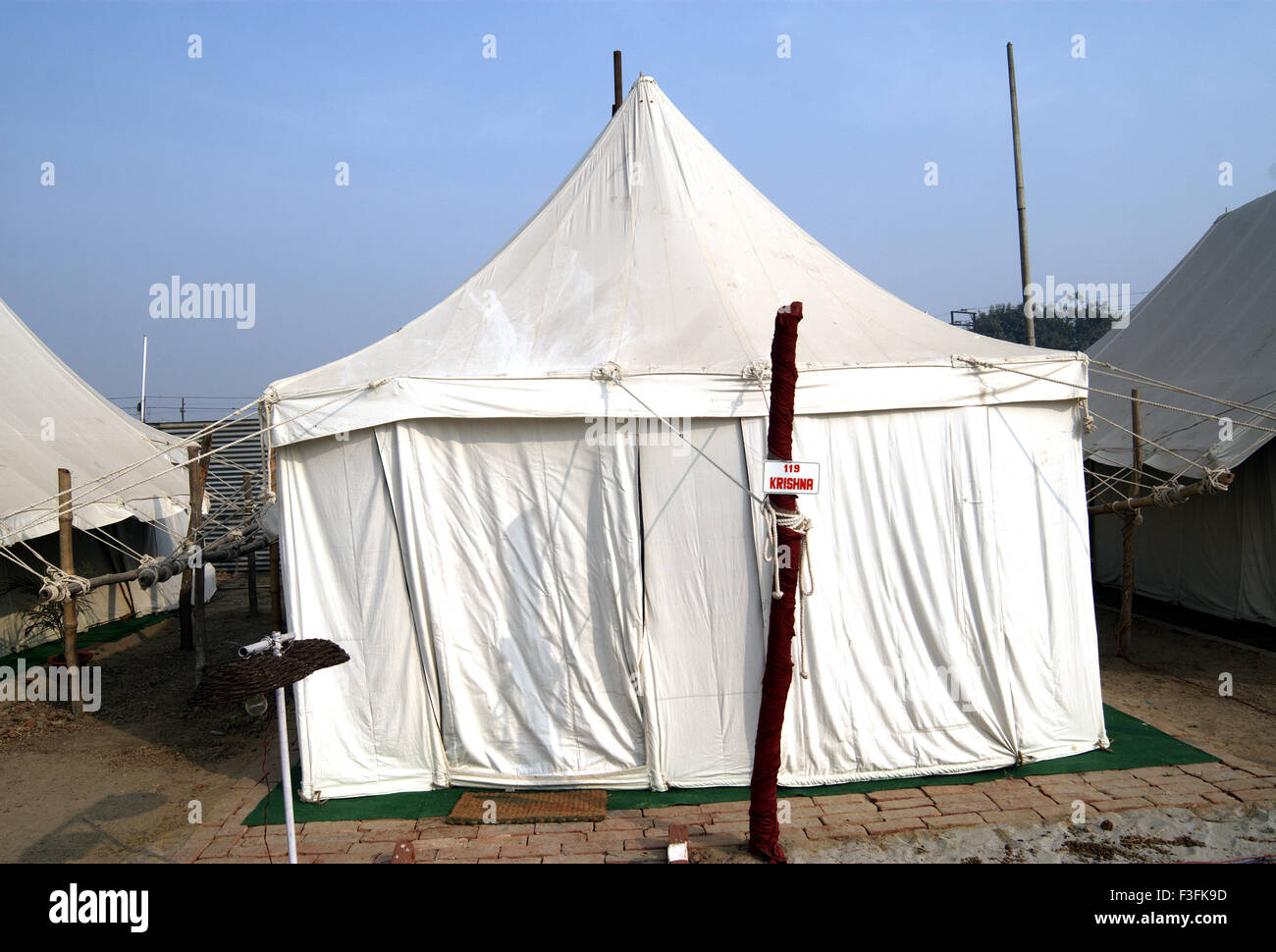 A tent installed for temporary stay for pilgrims during the Ardh Kumbh Mela ; ; ; India - Stock Image