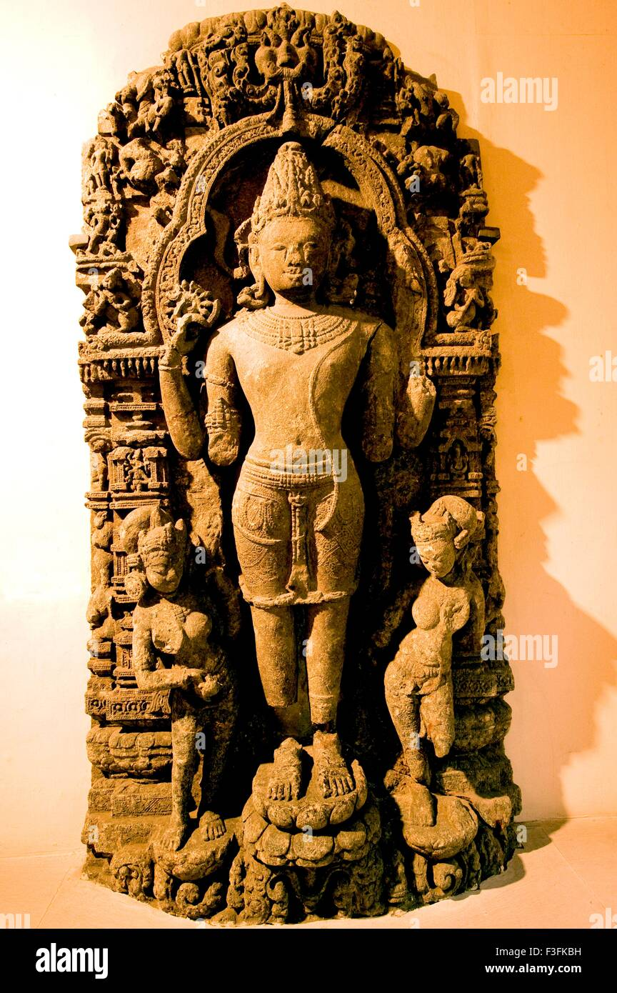 Statue of lord Vishnu of 9th Century at heritage Indian museum building ; Calcutta ; West Bengal ; India - Stock Image