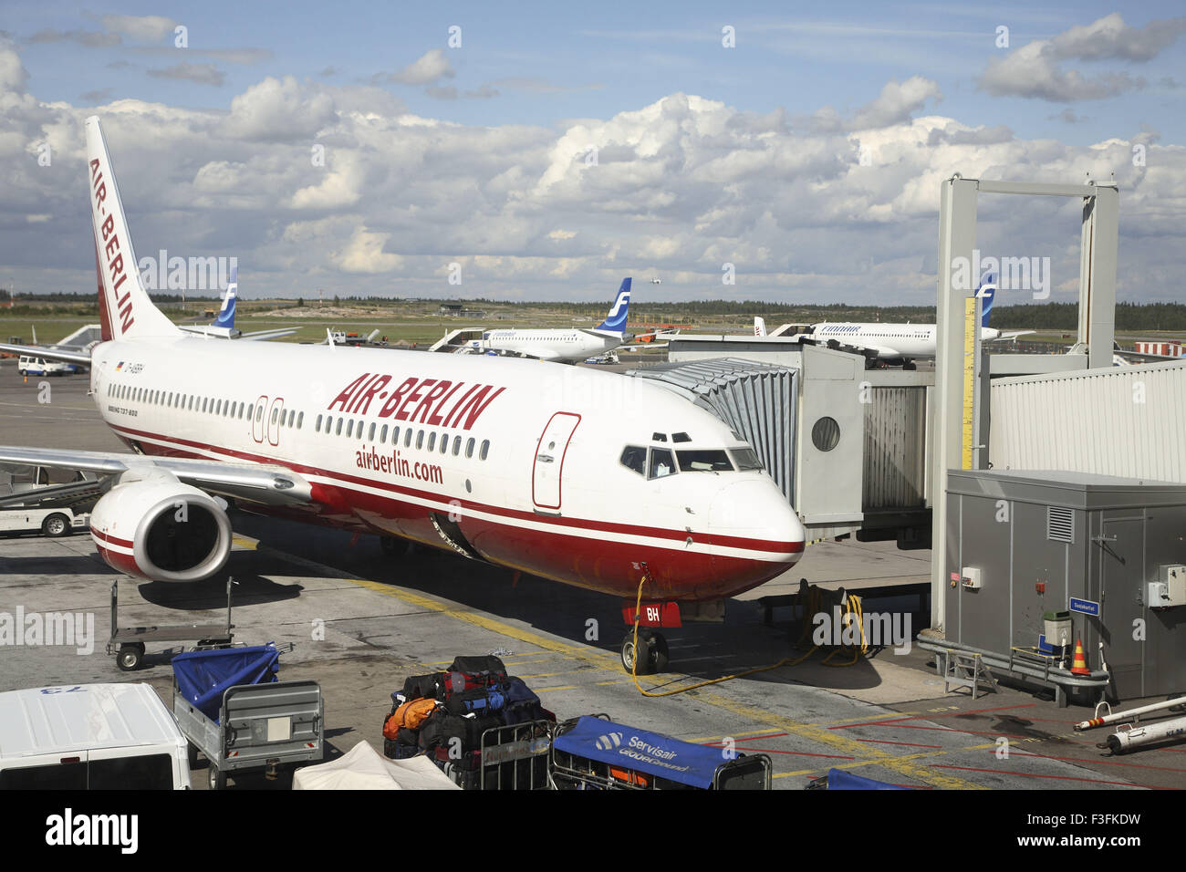 Air transport ; Air Berlin Boeing 737 800 landed ; Helsinki Vantaa Airport; Finland ; Scandinavian Countries - Stock Image