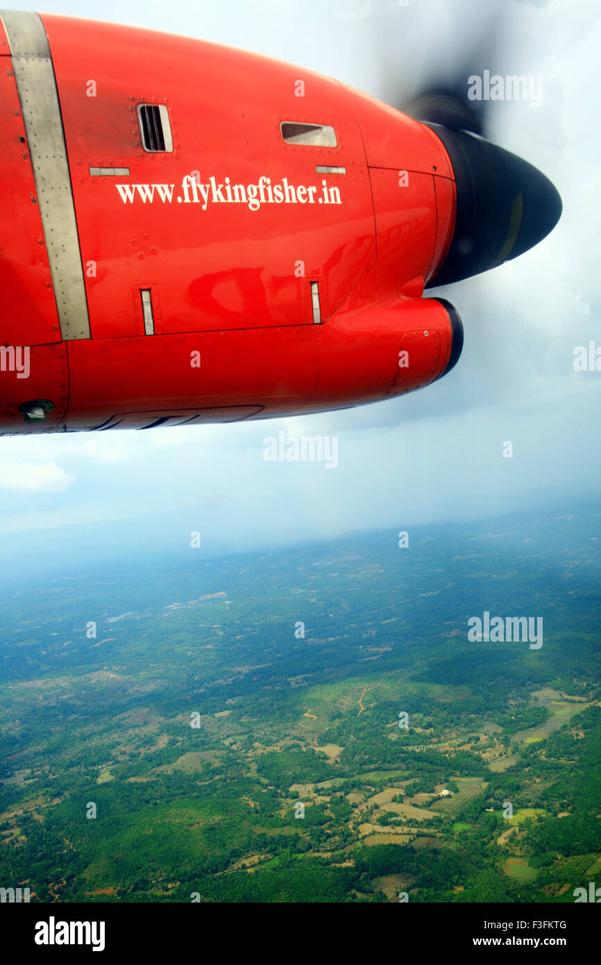 Kingfisher airlines aerial shot taken from inside flight ; Kerala ; India - Stock Image