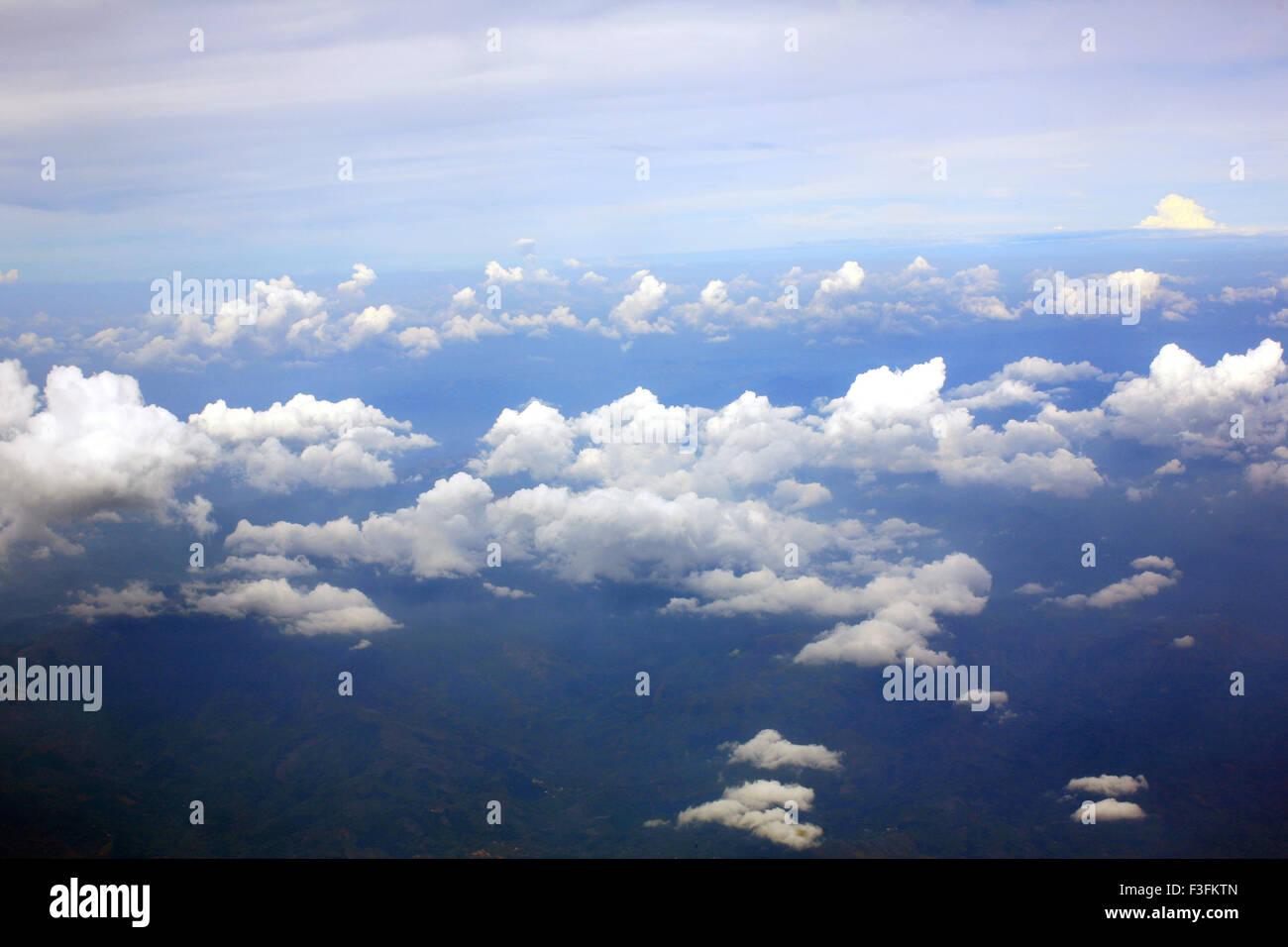 Aerial shot of sky ; Kerala ; India - Stock Image