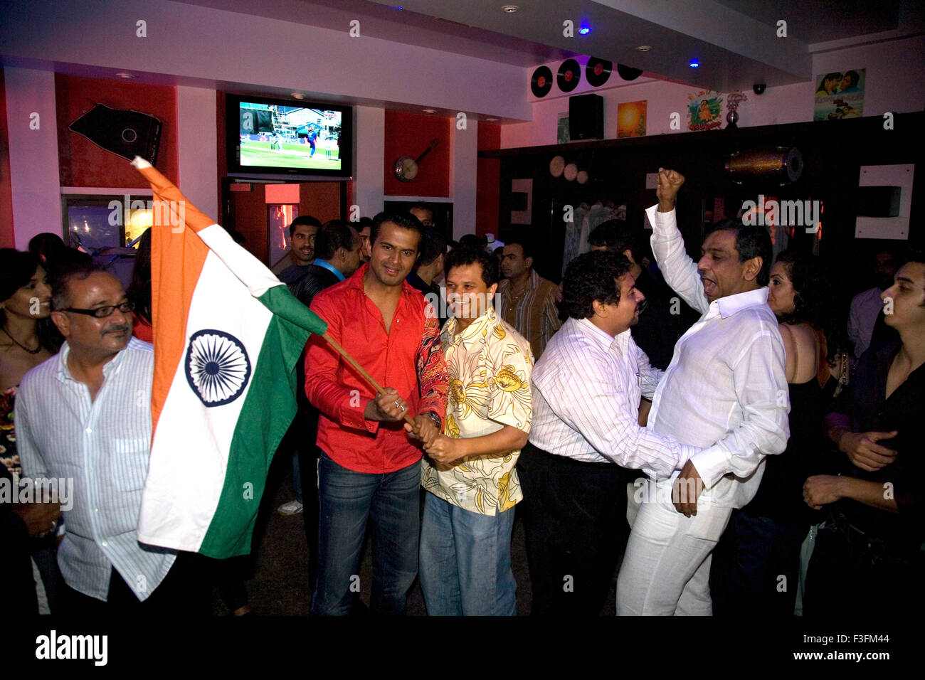People celebrating India wins cricket match world cup 20 20 v/s Pakistan - Stock Image