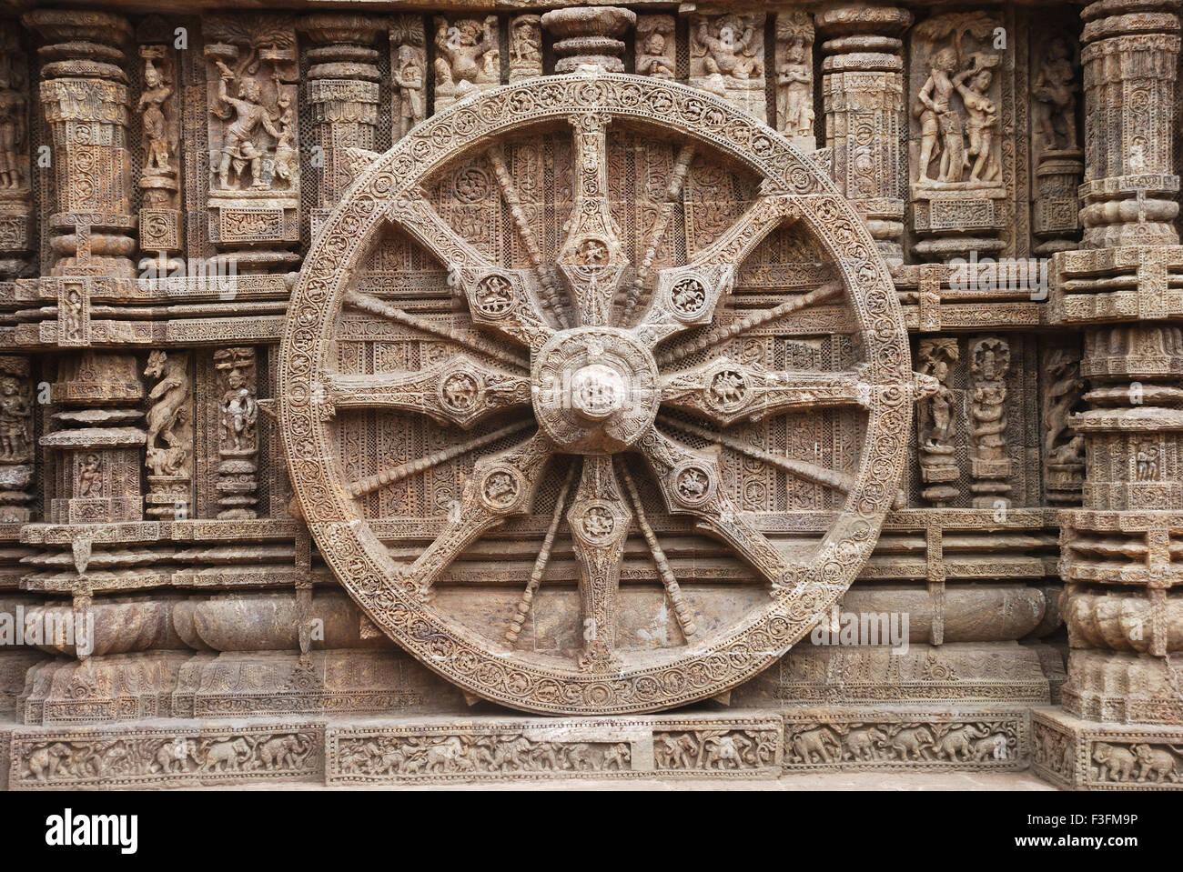 Wheel of chariot of god sun at sun temple ; Konarak ; Orissa ; India - Stock Image