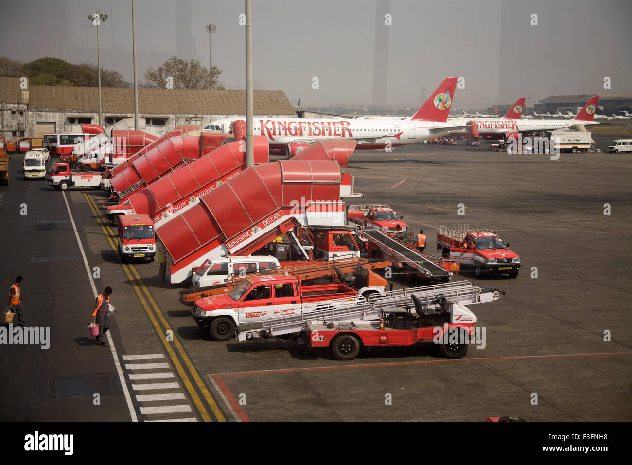 Kingfisher deccan flight air bus A320 is ready to take off at Chattrapati Shivaji Terminal Mumbai ; Maharashtra - Stock Image