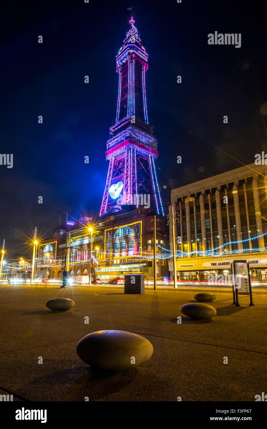 Blackpool Tower during Blackpool illuminations Stock Photo