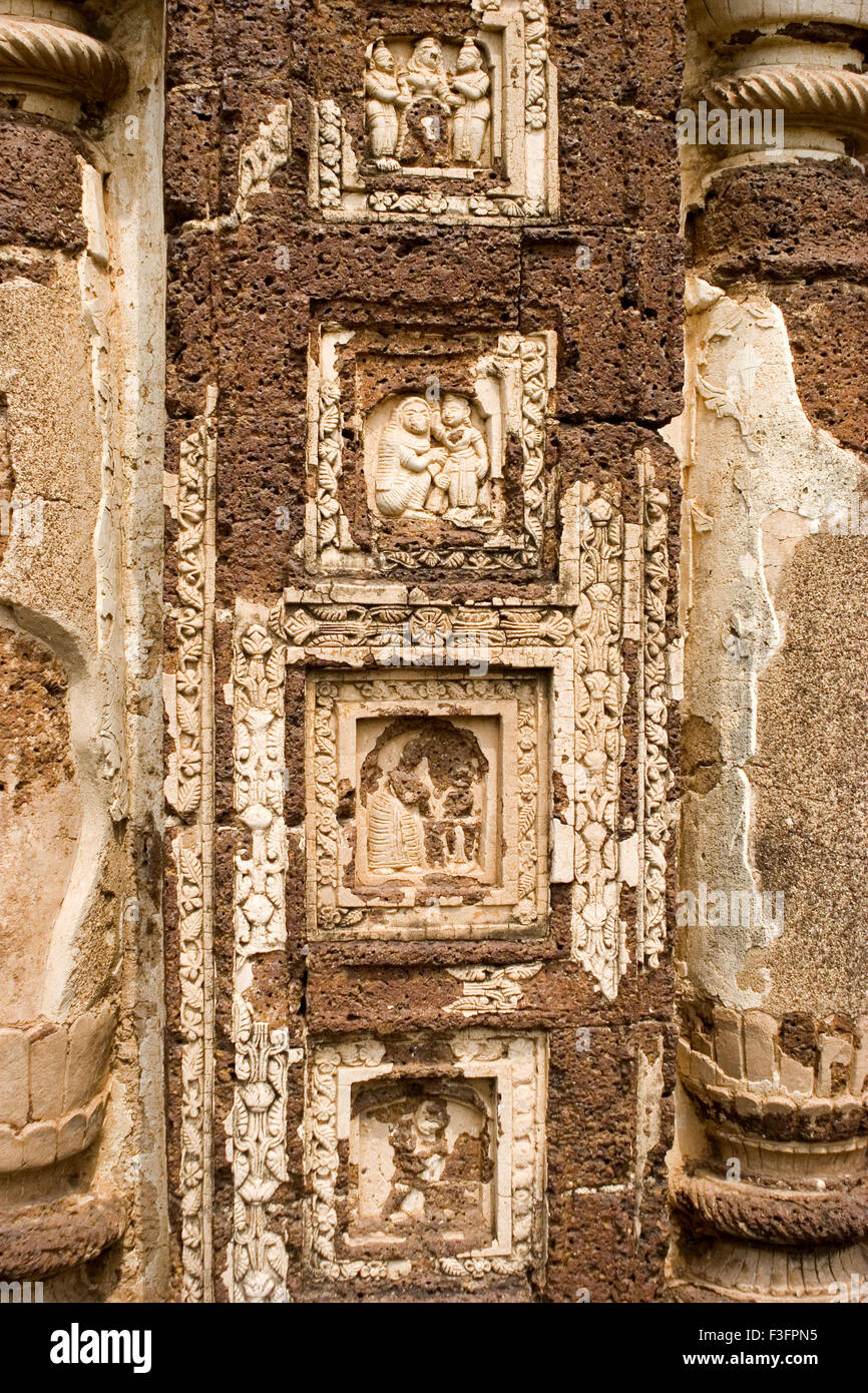 Decorative motifs geometric and floral patterns epics and puranic scene on Radhashyam temple built ruler Jagat Malla - Stock Image