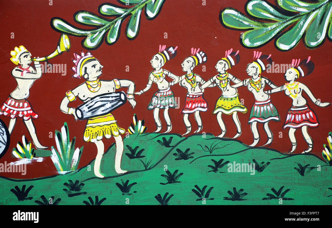 Tribal art ; wall painting ; Orissa ; India - Stock Image