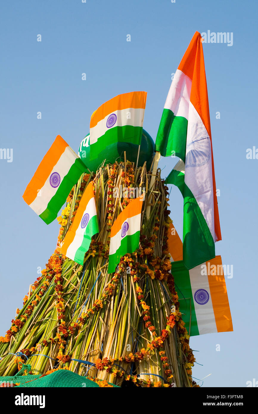 Indian flag on 26th January 2007 ; India - Stock Image