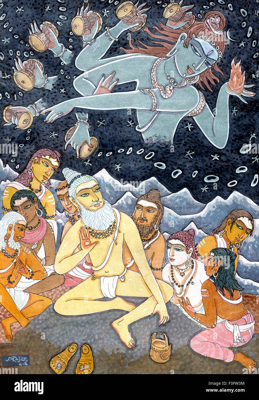 Lord siva blesses nandinatha and his eight disciples ; himalayan academy art - Stock Image
