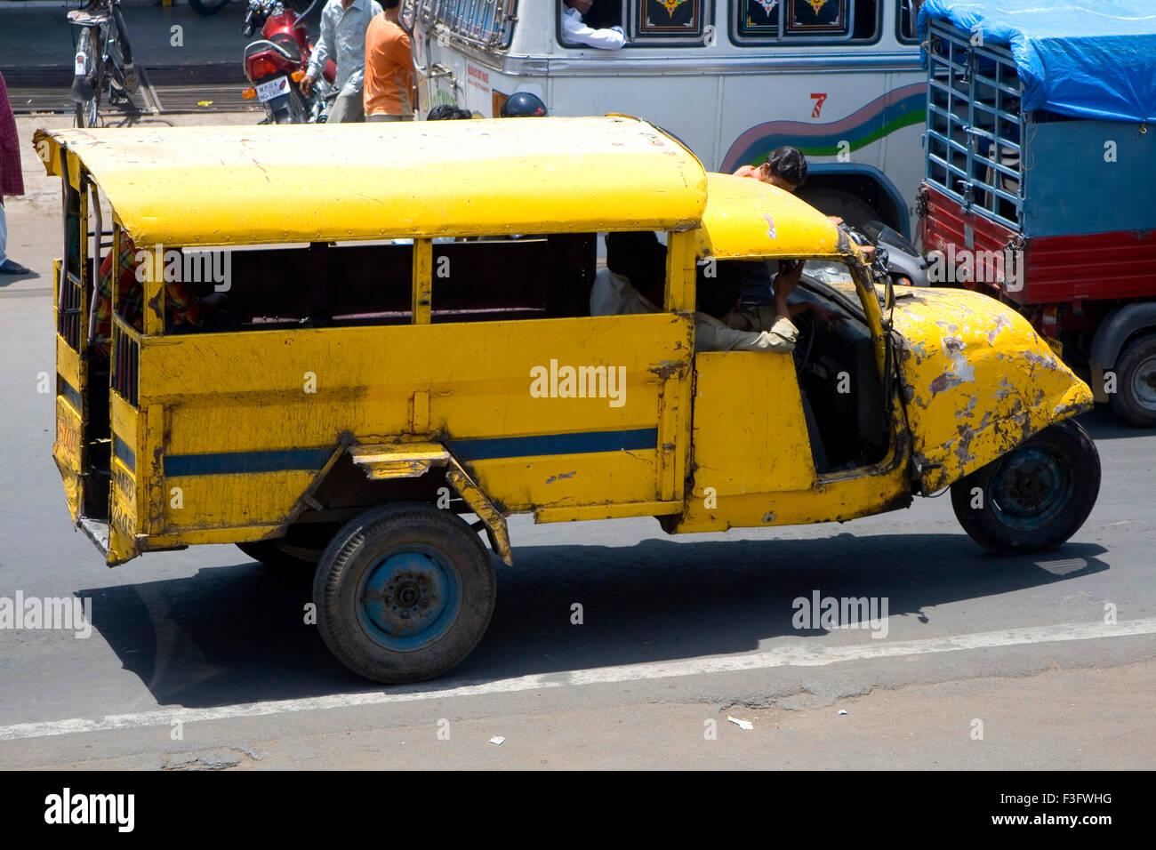 Three Wheeler Old Car In Bhopal Madhya Pradesh India Stock Photo