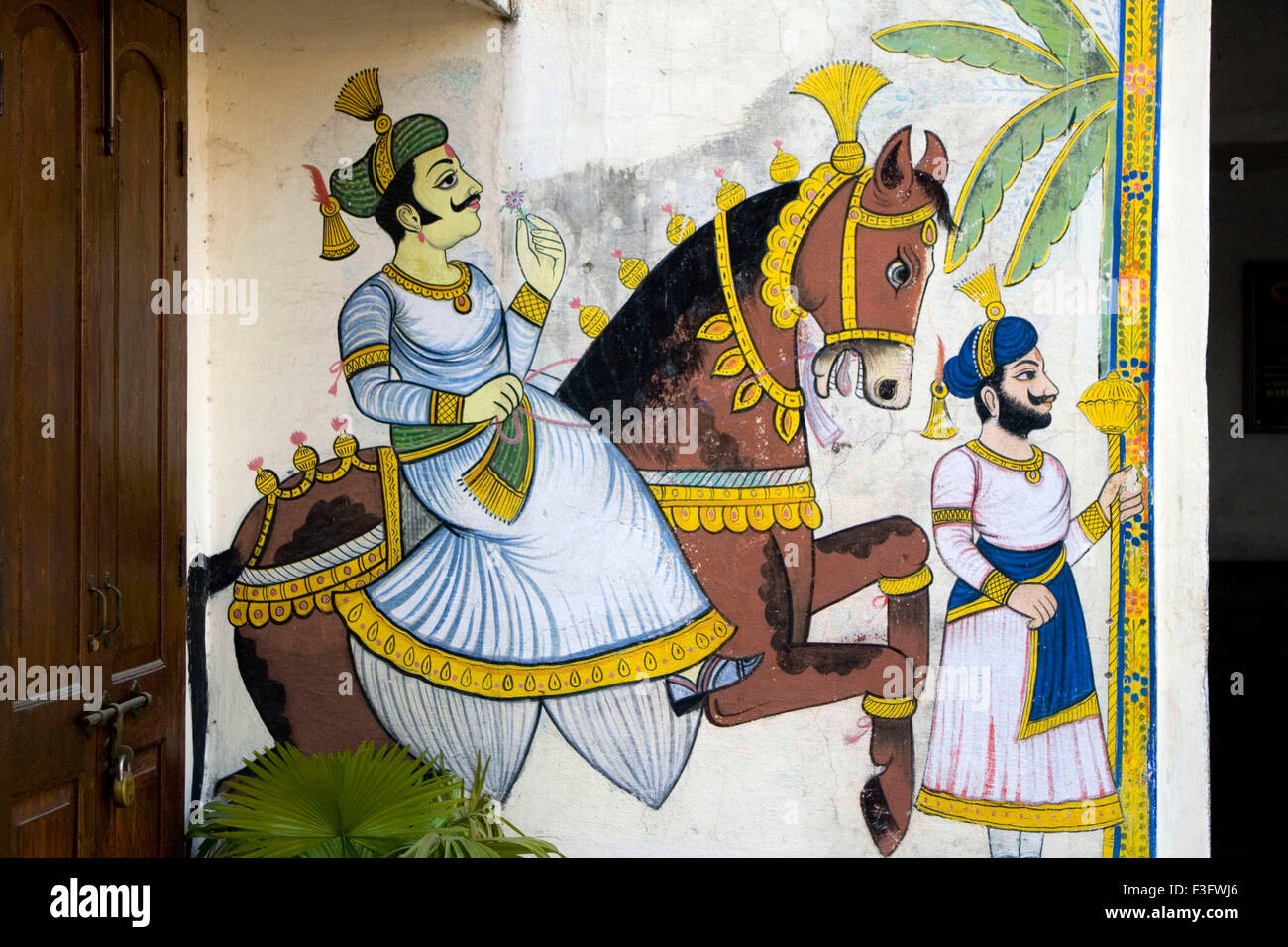 Mural Painting Of A King On The Horse Udaipur Rajasthan India Stock Photo Alamy
