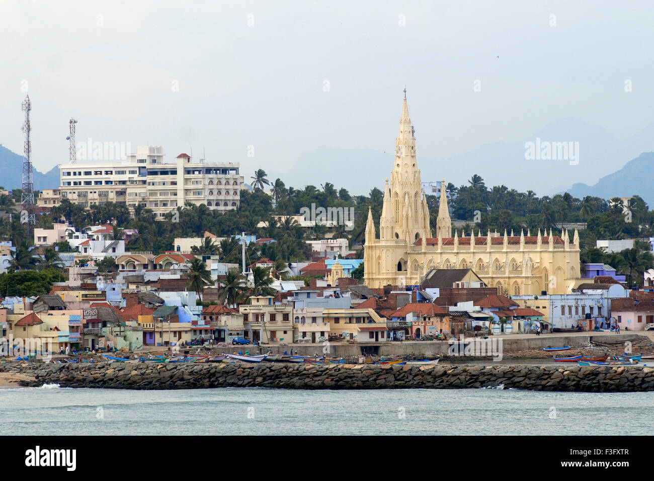 Church of Our Lady of Joy founded by St. Francis Xavier in 1540 ; Kanyakumari ; Tamil Nadu ; India - Stock Image