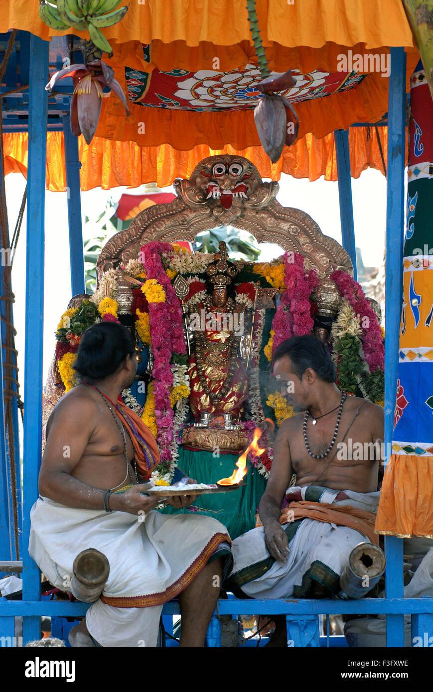 Urchava deity Lord Subrahmanya consort Valli Devasena Kapaleswara Shiva temple festival Mylapore Chennai Tamil Nadu - Stock Image