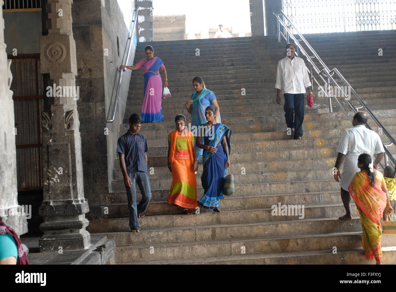Sixty beautiful laid stone steps representing Hindu style of sixty years leading to Lord ; Swamimalai ; Tamil Nadu - Stock Image