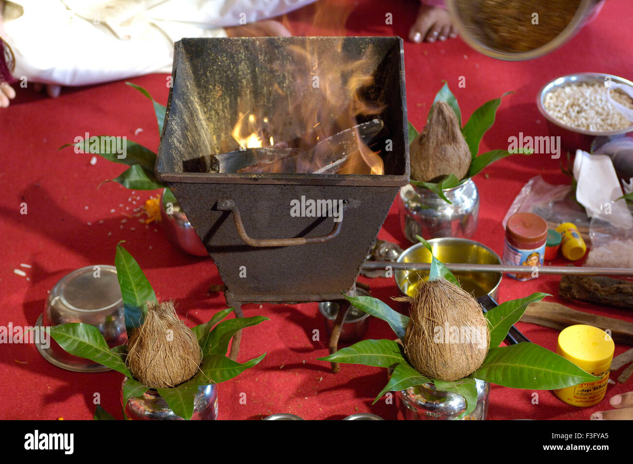 Holy fire or havan in marriage ceremony Stock Photo