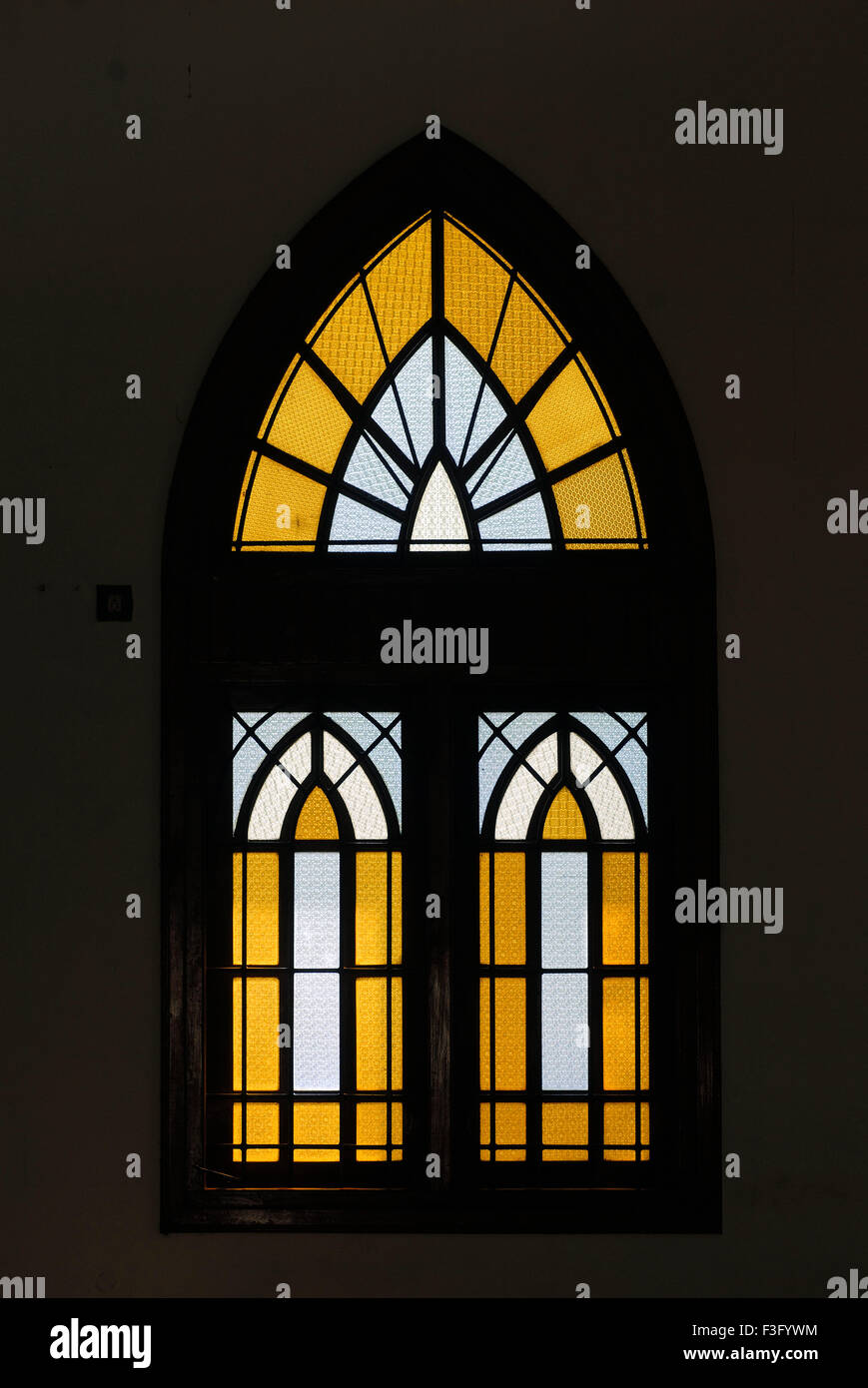 Stained glass window in St. Michael's Church in Kodungallur ; Kerala ; India Stock Photo