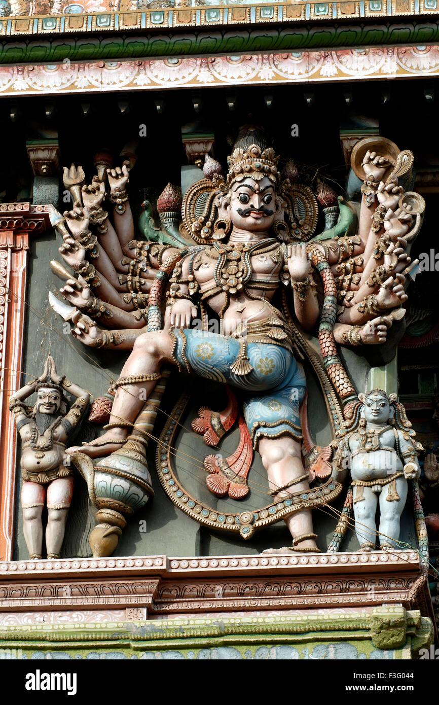 Stucco figures on Sri Meenakshi Amman temple ; Madurai ; Tamil Nadu ; India - Stock Image