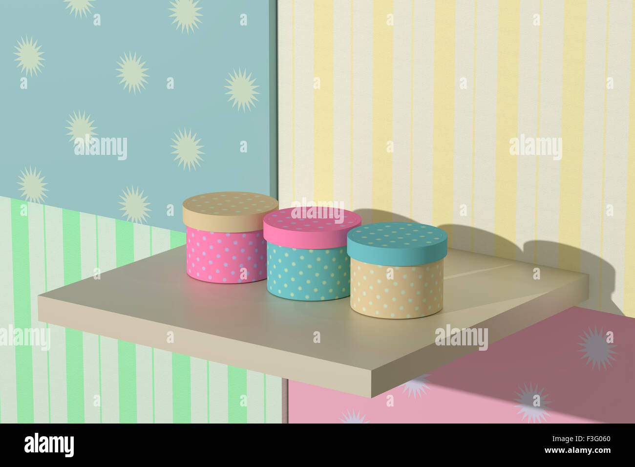 3d rendering of some gift stamped boxes - Stock Image