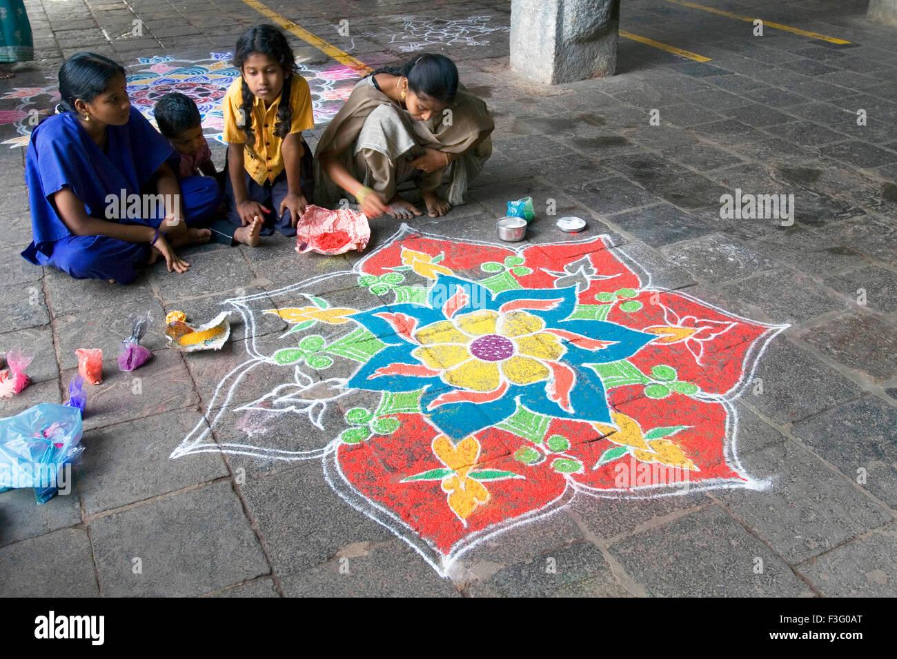 Kolam auspicious art of decorating courtyards of temples ; Tamil Nadu ; India - Stock Image